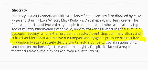 idiocracy description
